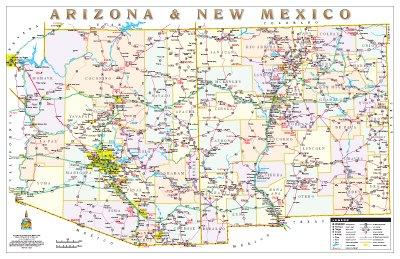 Arizona & New Mexico Political Highways Desk Map Gloss Laminated (Highway Map Of New Mexico And Arizona)