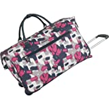 Anne Klein Luggage Wheeled City Bag, Pink/Navy/Creme, One Size, Bags Central