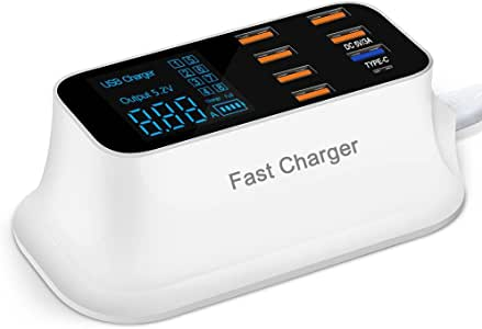 SLL Fast Charging Station Multiple USB Charger,40W/8A 8 Port Desktop Charger Hub with 1 Type C Port and 1 Quick Charge 3.0 Port, Led Display Power Adapter for Huawei, iPhone, Samsung, LG and More