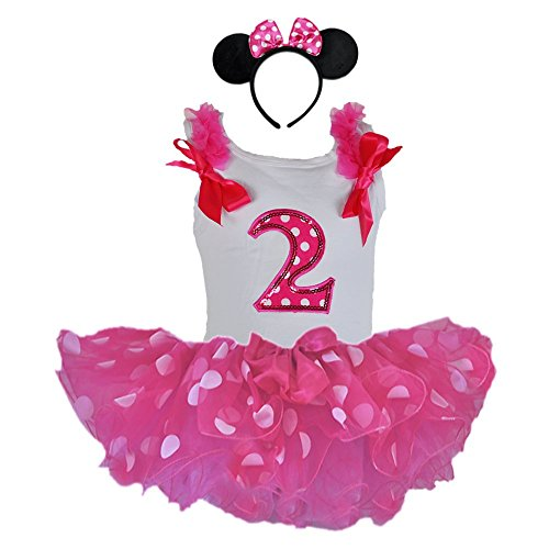 Birthday Girl Age Number Tank Top, Hot Pink/white Polka Dot Tutu, Headband Outfit (Age 2 HPW2H) (Tutu Minnie Mouse)