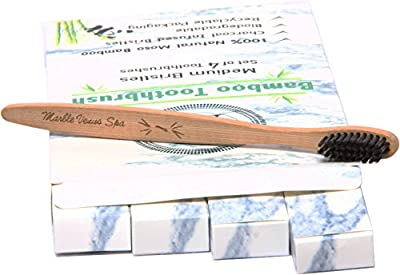 Bamboo Toothbrush Kit – 100% Natural Moso Bamboo Biodegradable Eco-Friendly Charcoal Infused Medium Bristles Vegan BPA Free Best Premium Teeth Whitening Tooth Brush Family/Guest/Travel Value Set of 4