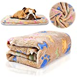 iNNEXT Puppy Blanket Pet Cushion Small Dog Cat Soft Warm Fleece Sleep Mat, Pet Dog Cat Puppy Kitten Soft Blanket Doggy Warm Bed Mat Paw Print Cushion