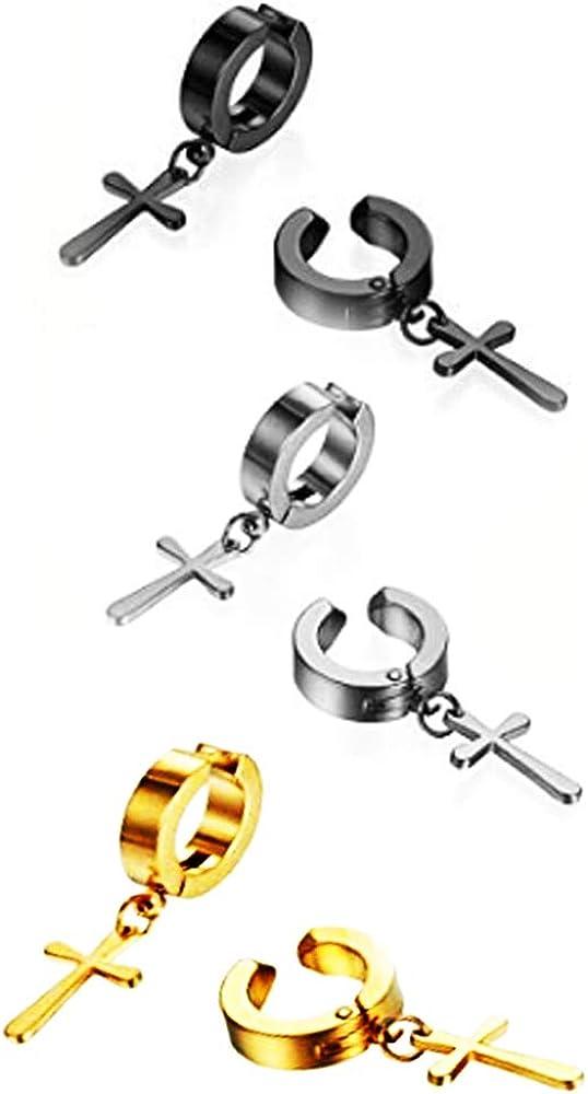 Stainless Steel No Piercing Clip On Cross Hoop Dangle Earrings for Men Women,Hypoallergenic