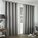 Art DECO Period style Curtains THERMAL Lined Jacquard SILVER GREY Ideal PERIOD HOME Size: 66x72/168x183cm by Showpiece Curtains and Voiles