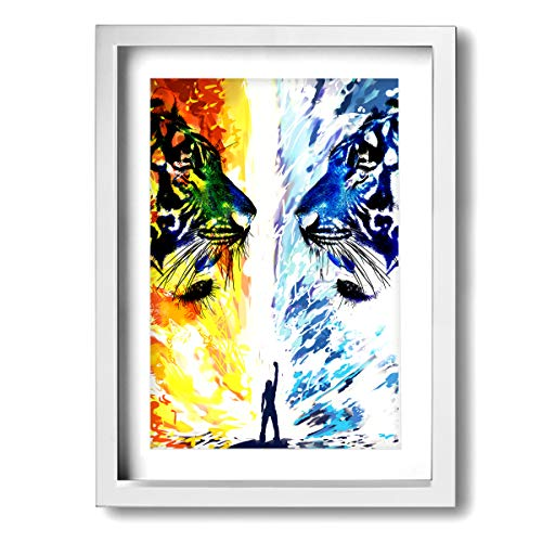 ELKFOREST Fantastic World Fire Water Inner Framed Decorative Artwork Abstract Oil Paintings On Canvas Wall Art Ready to Hang for Home Decoration Wall Decor, Paintings for Living Room 12x16inch
