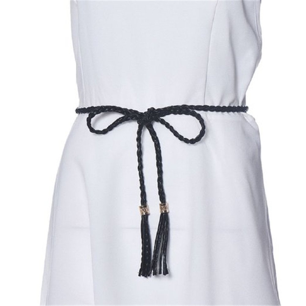 Sanwood/® Womens Fashion Tassel Thin Braided Belt For Dress Bowknot Waist Chain