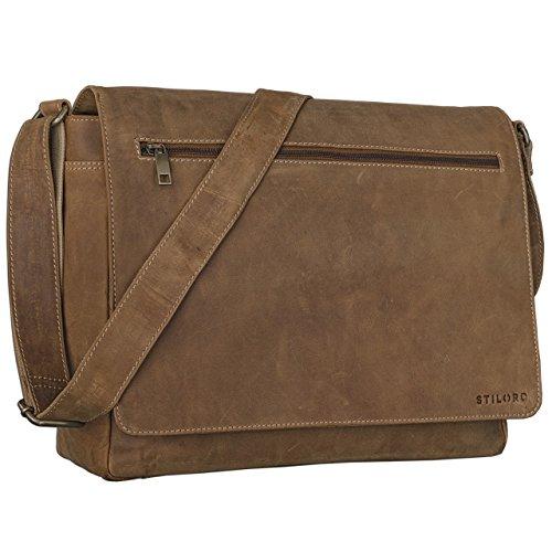 STILORD 'Phil' Bolso de piel vintage Borsa in Pelle hombres + mujeres / para notebooks / Borsa de cuero auténtico, Color:marrón - medio marrón - medio