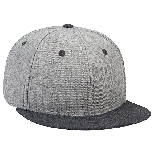 (OTTO SNAP Wool Blend Twill Round Flat Visor 6 Panel Pro Style Snapback Hat - H.Blk/H.Gry/H.Gry)