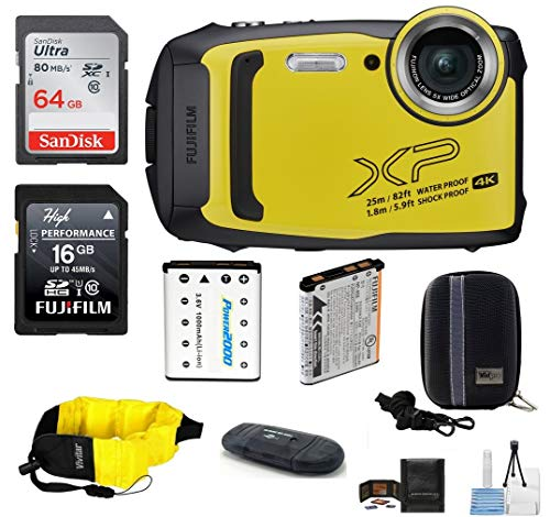 FUJIFILM FinePix XP140 Water, Shock, Freeze, and Dustproof Digital Camera (Yellow) Bundle; Includes: 64GB & 16GB Memory Cards + Spare Battery + +Floating Strap + Camera Case + More (Fujifilm 16gb Sdhc Class 10 Memory Card)
