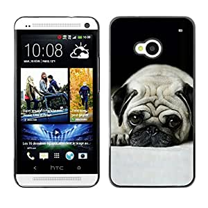 - Pug Dog Small Shorthair Big Brown Eyes For HTC One M7 Hard Snap On Cell Phone Case Cover @ Cat Family