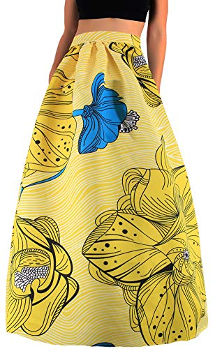 Novia's Choice Women African Floral Print Pleated High Waist Maxi Long A-Line Skirt(Big Yellow Flower M)