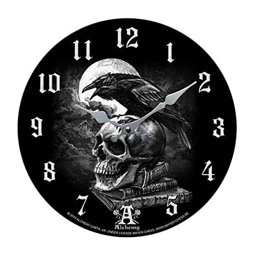 """Skull Wall Clock """"Poe's Raven Crown"""" Skull Clock By Alchemy Gothic Round Plate 13.5""""D"""