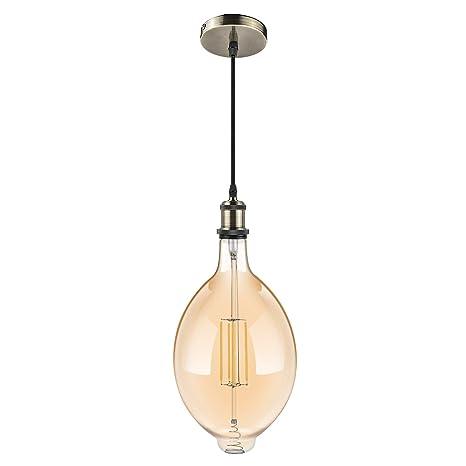 Uchrolls Lámpara colgante de techo vintage, bombilla de filamento decorativa grande de LED (Φ180x330mm