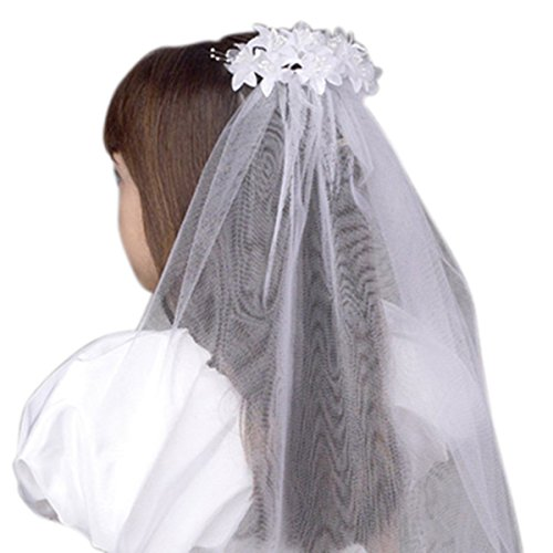 Floral Beaded White Tulle Veil for First Communion or Wedding, 25 Inch ()