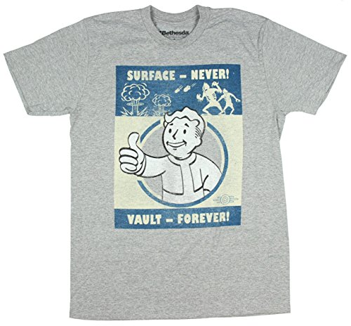 Vault Boy Fallout 4 Vault Forever Men's Licensed Heather T-Shirt