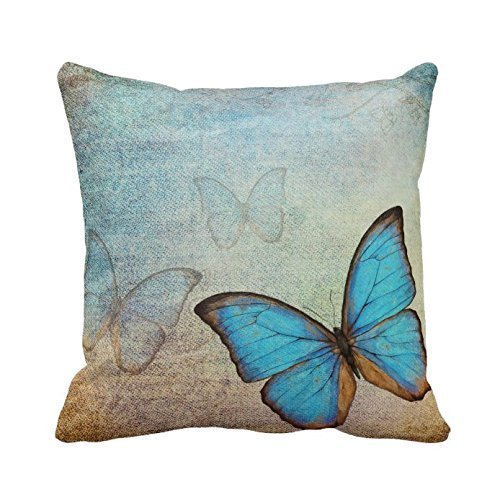 Blue Butterflies Throw Pillow Case Cushion Cover Fashion Hom