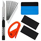 EEFUN 6 in 1 Installation Tool Kit for Car Window Wrapping Tint Vinyl with Utility knife, Safety Snitty Cutter, PP Squeegee.