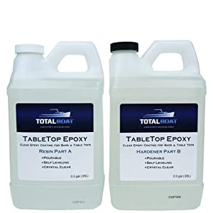 Crystal Clear Epoxy Resin | TotalBoat 1 Gallon Epoxy Resin & Hardener Kit for Bar, Table Tops & Countertops | Pro Epoxy Coating for Wood, Concrete, Art