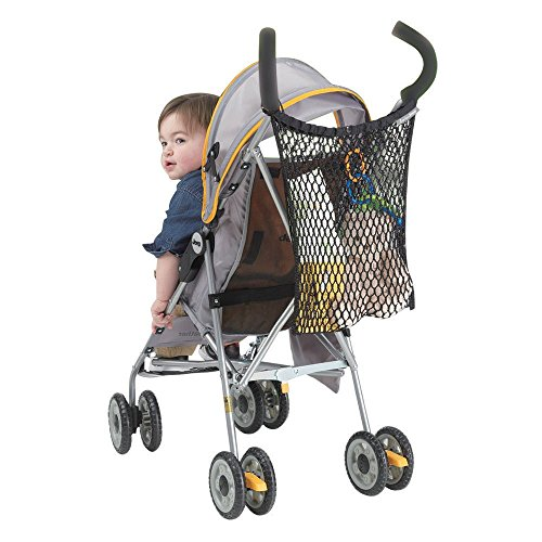 J is for Jeep Stroller Bag, Baby Bag Organizer, Mesh Netting, Unversal Size, Attaches to Most Strollers,  Black