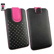 Emartbuy® Black / Hot Pink Gem Studded Premium PU Leather Slide in Pouch Case Cover Sleeve Cover Holder ( Size 5XL ) With Pull Tab Mechanism Suitable For Polaroid Link A6 6 Inch Smartphone