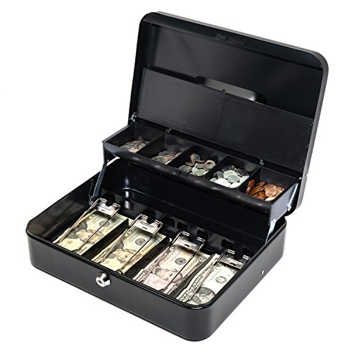 Cash Box Featuring Secure Key Lock & New Coin Lid with Money Tray by Baya by BAYA