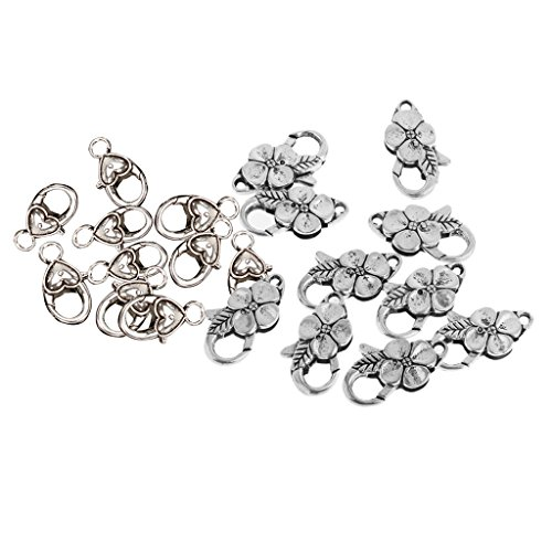 (Homyl 20 Pieces Vintage Antique Silver Color Heart Shape Claw Lobster Clasps 25x12mm & Flower Shapes Lobster Clasps 27x12mm DIY Repair Necklace Bracelet Jewelry Finding)