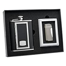 "Visol ""SP Black"" Leather Cigarette Case Deluxe Flask Gift Set"