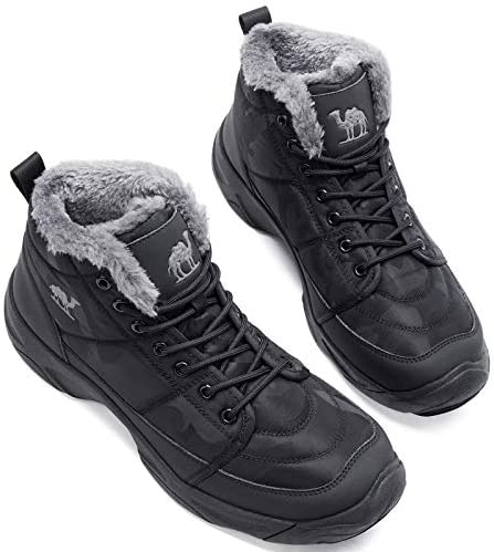 CAMEL CROWN Mens Snow Boots Fur Lined Witnter Insulated Ankle Hiking Boots Warm for Backpacking Hunting Ski Work