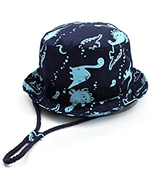Unisex Kids Bucket Sunhat Summer Wide Brim Fisherman Hat with Adjustable Chin Strap and Full Cotton