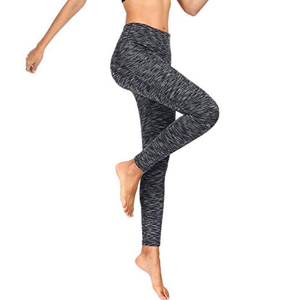 PLENTOP Grey Yoga Leggings, African Pants for Women,Women Workout Out Pocket Leggings Fitness Sports Running Yoga Athletic Pants