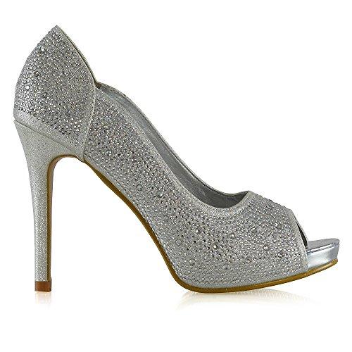 ESSEX GLAM Womens Peep Toe Platform Heels Diamante Platform Toe Stiletto Heel Elegant Pump Shoes B07418TG2M Shoes 104a04