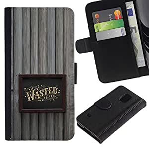 ZCell / Samsung Galaxy S5 V SM-G900 / Wasted Drunk Alcohol Gold Frame / Caso Shell Armor Funda Case Cover Wallet / Wasted Borracho alcohol oro m