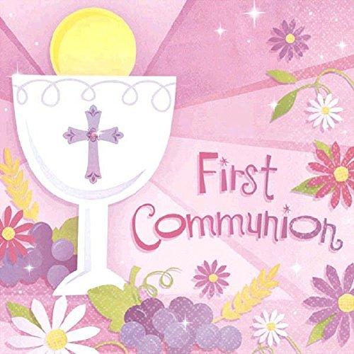 (Amscan Pink First Communion Beverage Napkins - 36 Per)