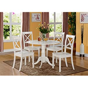 East West Furniture 5 PC Kitchen Set-Small Table and 4 dinette Chairs, 5 Pieces, Linen White Finish