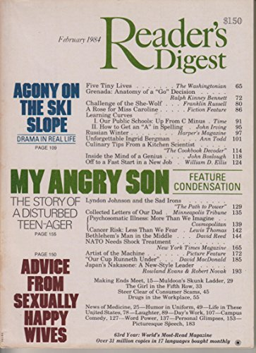 Reader's Digest February 1984 Agony on the Ski Slope; My Angry Son; Unforgettable Ingrid Bergman (1984 Ski)