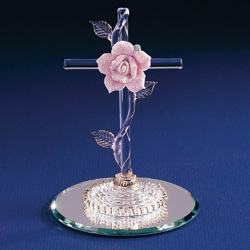 - Cross With Pink Rose Glass Figurine - Perfect Religious Gift