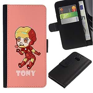 ARTCO Cases - HTC One M8 - Cute Kawaii Cartoon Ir0nman - Cuero PU Delgado caso Billetera cubierta Shell Armor Funda Case Cover Wallet Credit Card