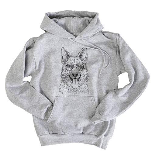 Shepherd Fleece Sweatshirt - Aviator Grace The German Shepherd Dog Men's Pullover Hoodie Sweatshirt Small Grey