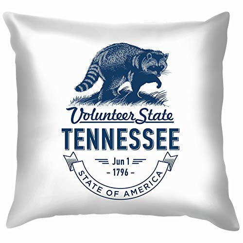 Tennessee Volunteer State Stylized Emblem Animals Wildlife Nature Funny Square Throw Pillow Cases Cushion Cover for Bedroom Living Room Decorative 16X16 Inch ()