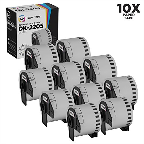 LD Compatible White Paper Tape Replacements for Brother DK-2205 2.4 inch x 100 feet (10-Pack)