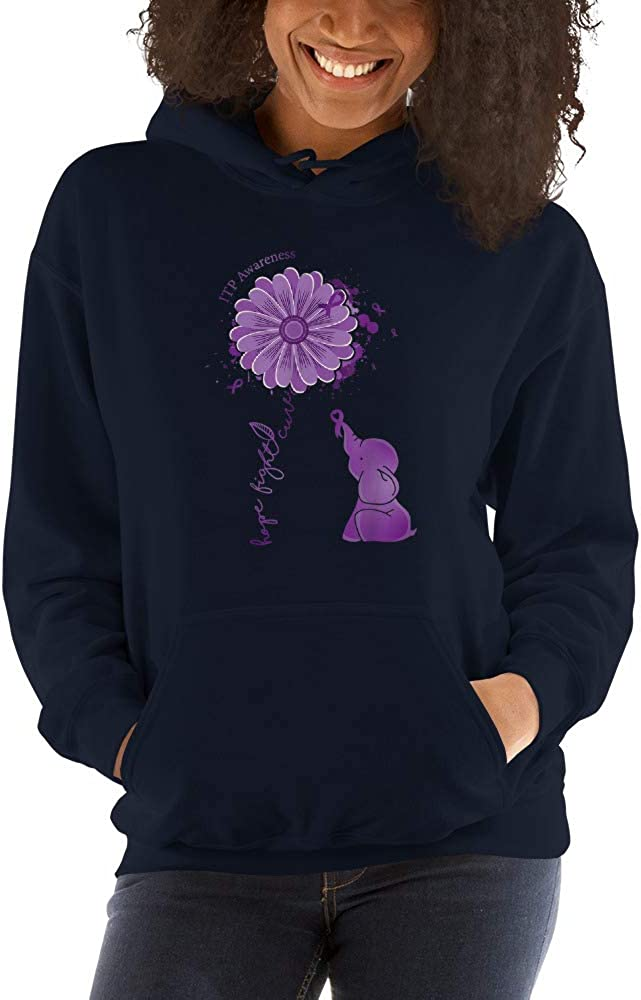 Elephant Purple Ribbon ITP Awareness Hooded Sweatshirt