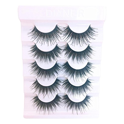 YJYdada 5 Pair Luxury 3D False Lashes Fluffy Strip Eyelashes Long Natural Party (F) ()