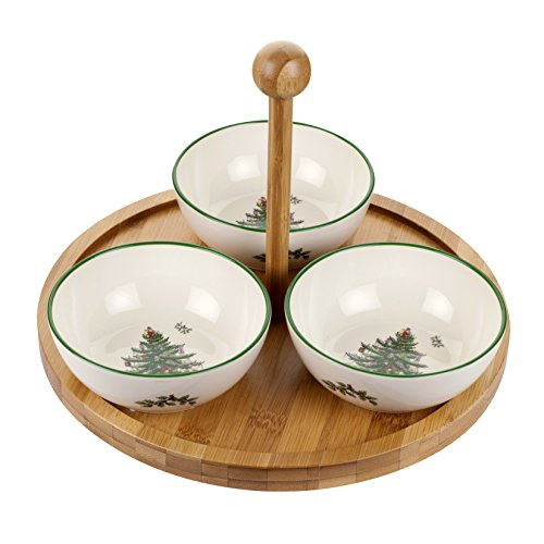 (Spode Christmas Tree Round Wood Tray with 3-Ceramic Bowls)