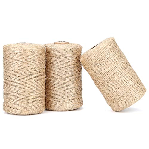 328 Feet 3 Ply 2 Mm Nature Jute Twine Rope for Gift Wrap, DIY Crafts, Festive Decoration, and Gardening -