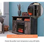 """LOKATSE HOME Electric Fireplace Stand Console for TV's Up to 70"""" Living Room Storage Entertainment Center, Grey Oak"""