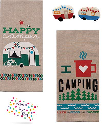 Linen Pepper Shaker - Just 4 U Gifts J4U Happy Camper and I Heart Camping Towels with Retro Camper Salt and Pepper Shakers