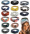 FIBO STEEL 15 Pcs Headbands for Women Girls Wide Boho Knotted Yoga Head Wrap Hair Band Elastic