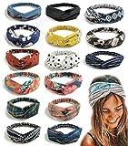 FIBO STEEL 15 Pcs Headbands Women Girls Wide Boho Knotted Yoga Head Wrap