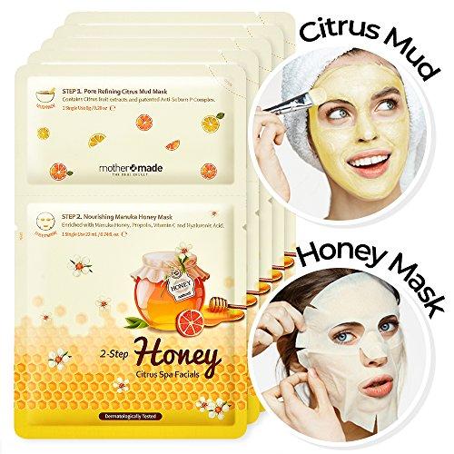 MOTHERMADE 2-Step Honey Citrus Spa Facials Face Mask , Pore