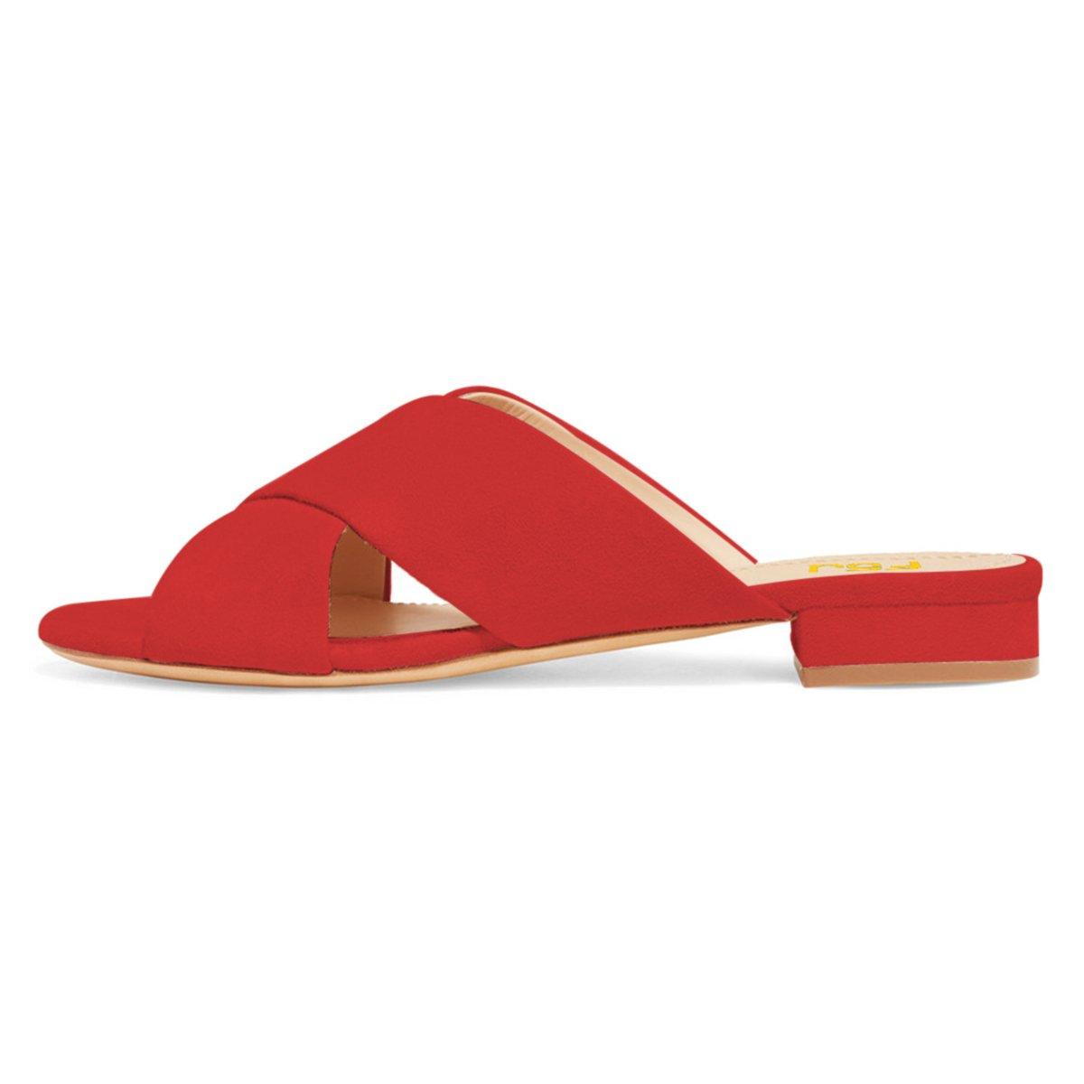 FSJ Women Comfortable Cross Strap Sandals Low Heels Mules Slide Casual Flats Shoes Size 4-15 US B07CTG7HHQ 12 B(M) US|Red